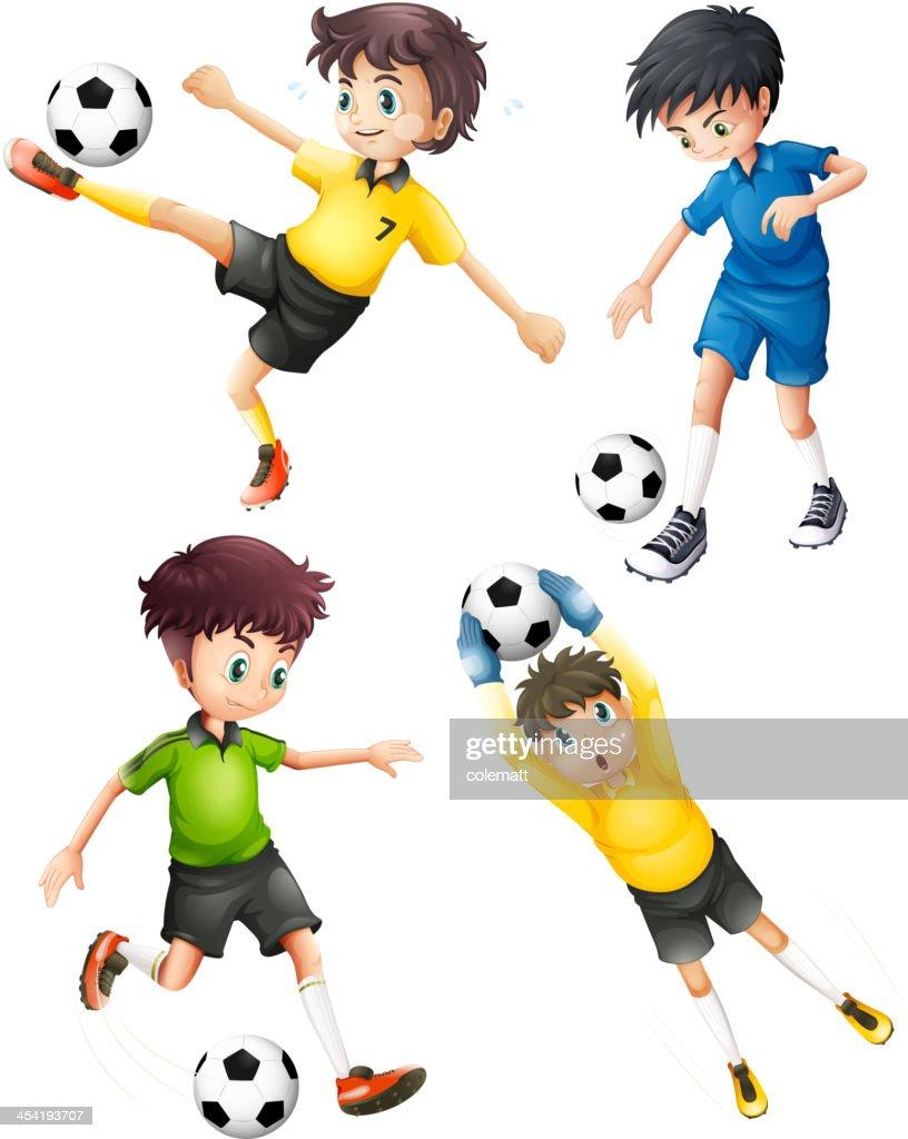 Vier football player : Vektorgrafik