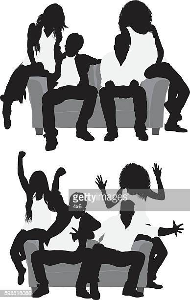 four friends sitting and cheering - boyfriend stock illustrations, clip art, cartoons, & icons