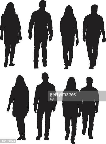 ilustraciones, imágenes clip art, dibujos animados e iconos de stock de cuatro amigos caminando - vista de frente