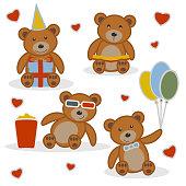 Four funny cartoon bear cubs