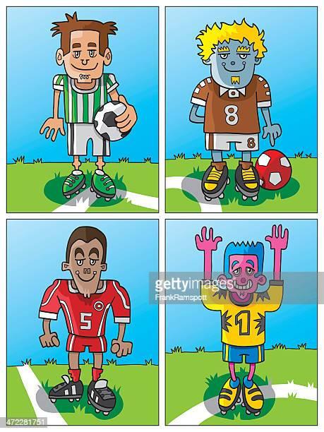 Four Funny Cartoon Soccer Players