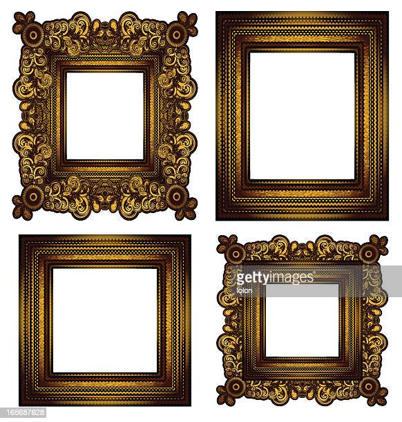 Four gold frames on a white background