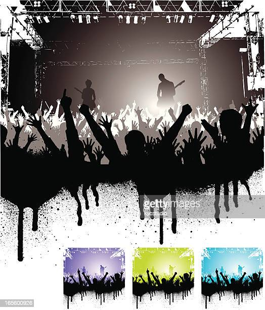 Four graphics of cheering crowd at rock concert