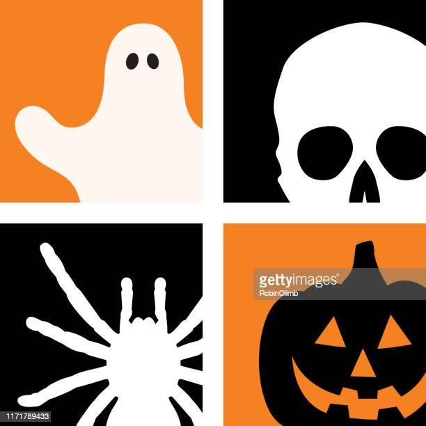 four halloween icons - jack o lantern stock illustrations, clip art, cartoons, & icons