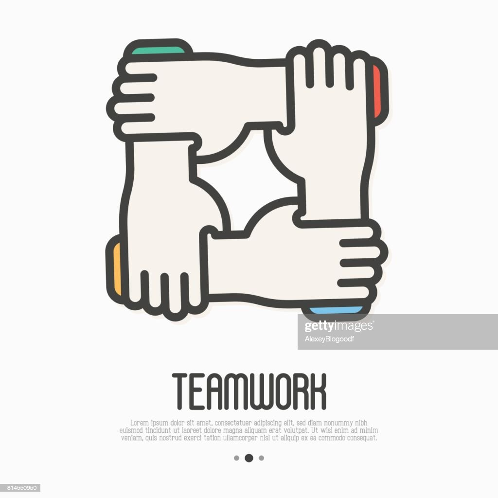 Four Hands Hold Together For The Wrist Other Symbol Of Team Work
