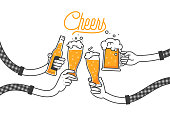 Four hands holding four beer bottles. Clinking glasses in plaid shirt. Party celebration in a pub. Isolated vector illustration of four drunk person drinking beer on white background. Cheers mate