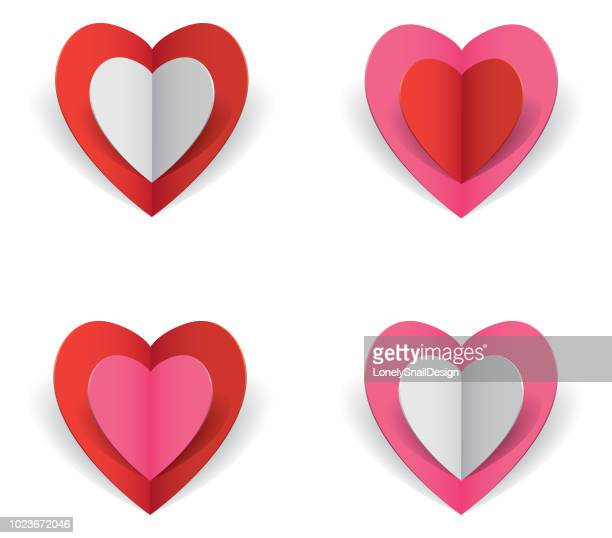 four hearts - folded stock illustrations