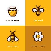 Four honey icons.