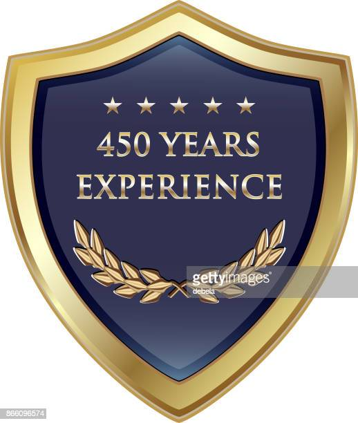 four hundred fifty years experience gold shield - 45 49 years stock illustrations, clip art, cartoons, & icons