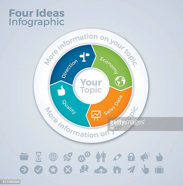 four ideas working together infographic - four objects stock illustrations