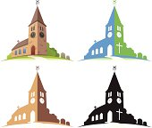 Four illustrations of a church in different colors