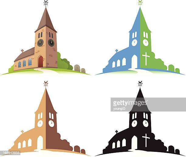 four illustrations of a church in different colors - chapel stock illustrations, clip art, cartoons, & icons