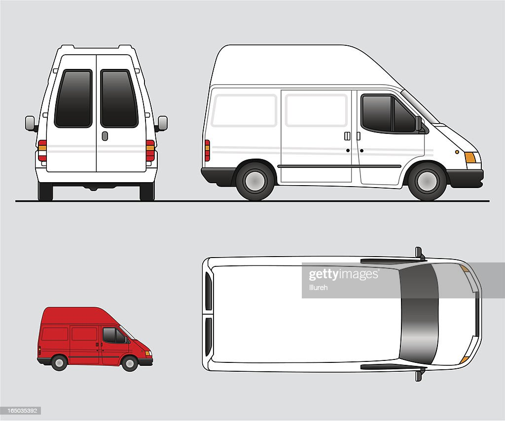 Four illustrations of delivery trucks