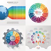 Four infographic templates with 10 steps, options, parts, proces