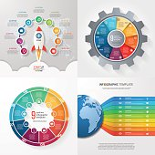 Four infographic templates with 9 steps, options, parts, process