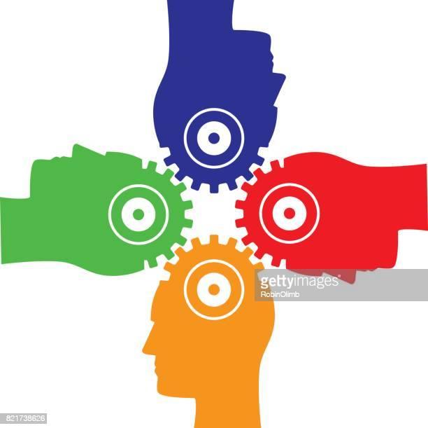 illustrations, cliparts, dessins animés et icônes de verrouillage des quatre têtes - quatre personnes