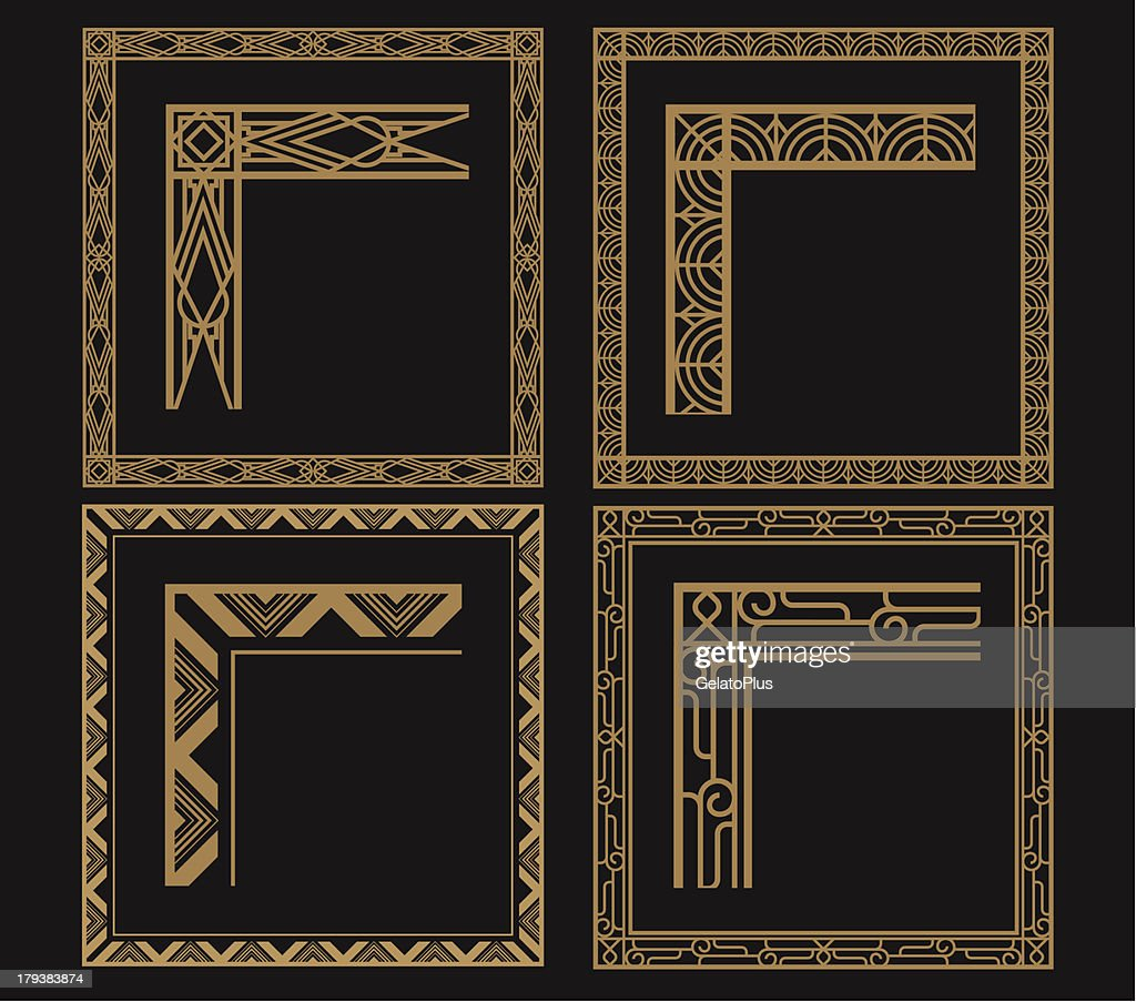 Four intricate gold art deco borders on black : Stock Illustration