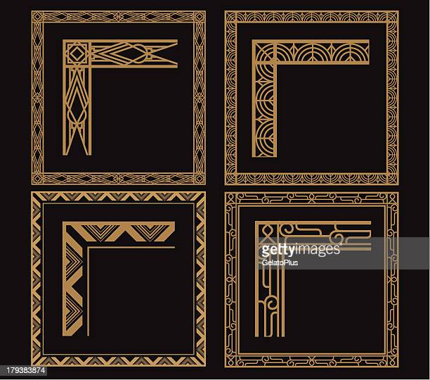 four intricate gold art deco borders on black - art nouveau stock illustrations, clip art, cartoons, & icons