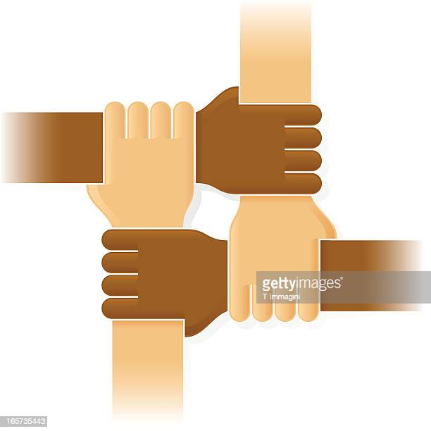 four joint hands - sports team stock illustrations, clip art, cartoons, & icons