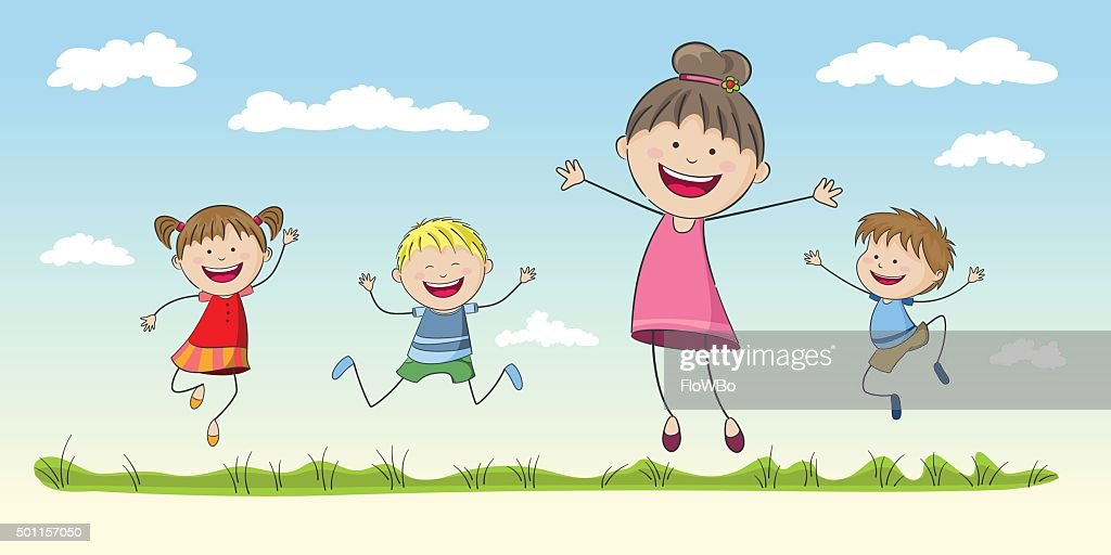 Four jumping Children