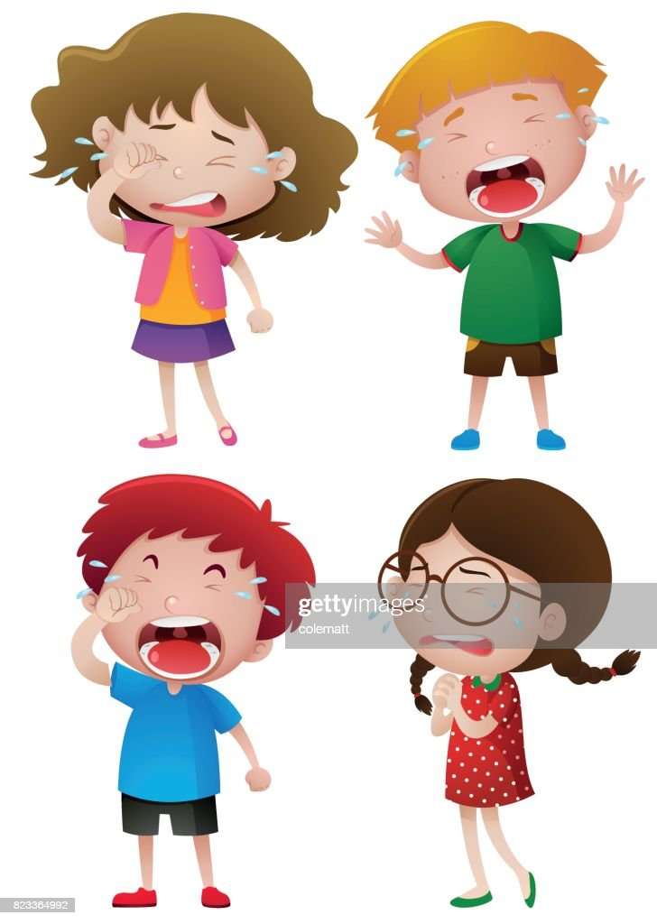 Four kids crying with tears