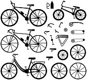 Four kinds of bicycles: mountain, road, city and bmx.