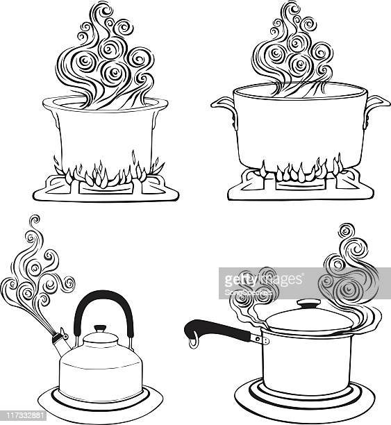 Four kitchen pots with steam