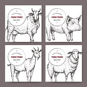 Four labels with hand drawn farm animals sketches.