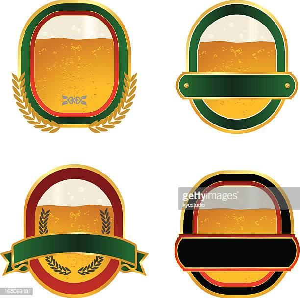 four labels with realistic beer inside - lager stock illustrations, clip art, cartoons, & icons