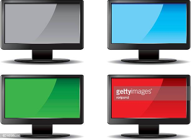 four lcd monitors - ultra high definition television stock illustrations