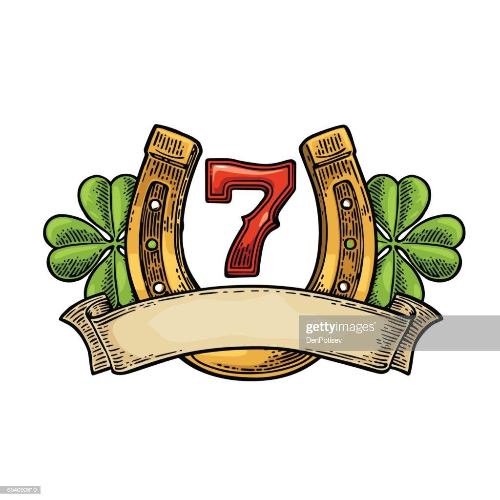 Four leaf clover, horseshoe, number seven, ribbon. Vintage vector engraving