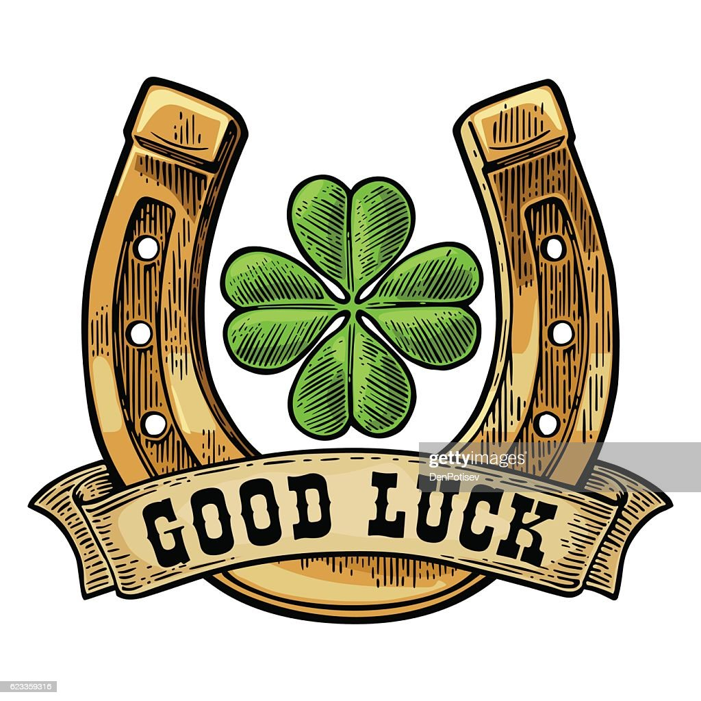 Four leaf clover, horseshoe, ribbon with text good luck.