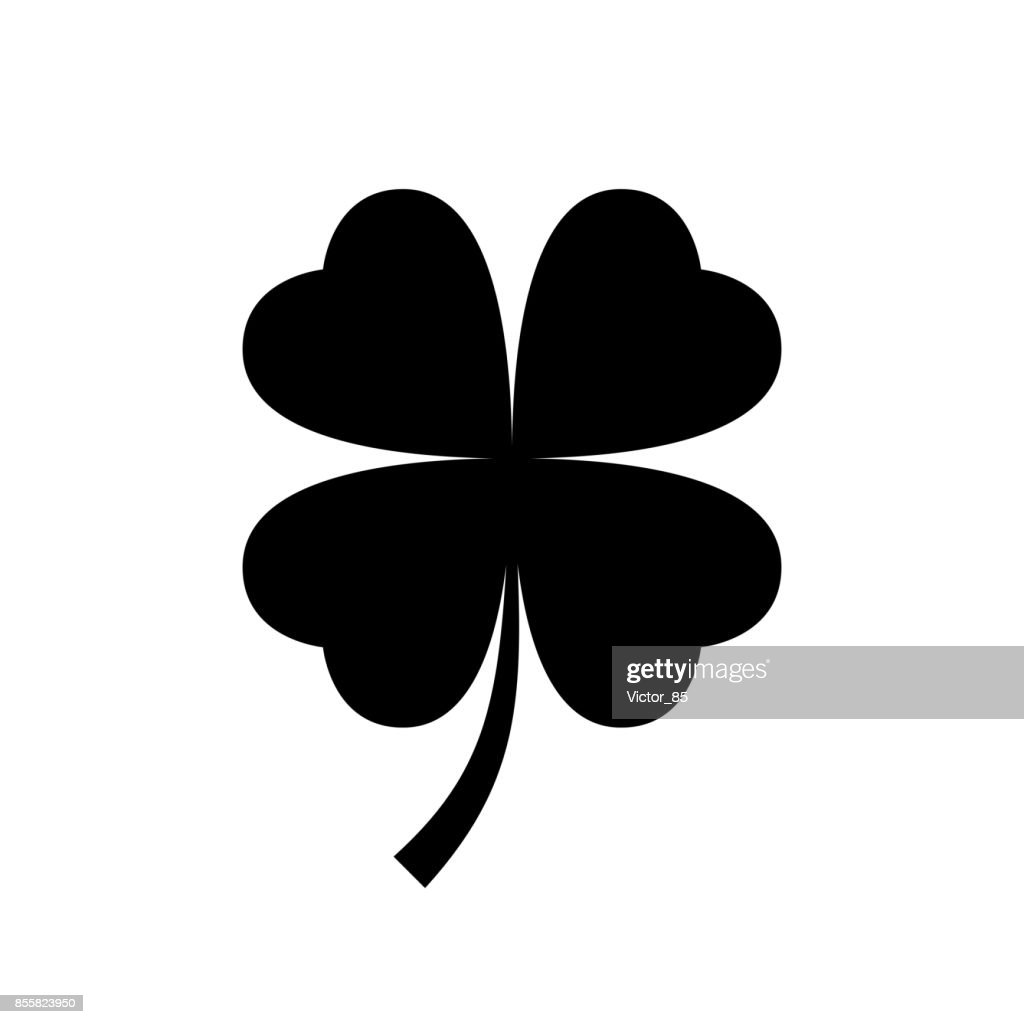 Four leaf clover icon. Black, minimalist icon isolated on white background.