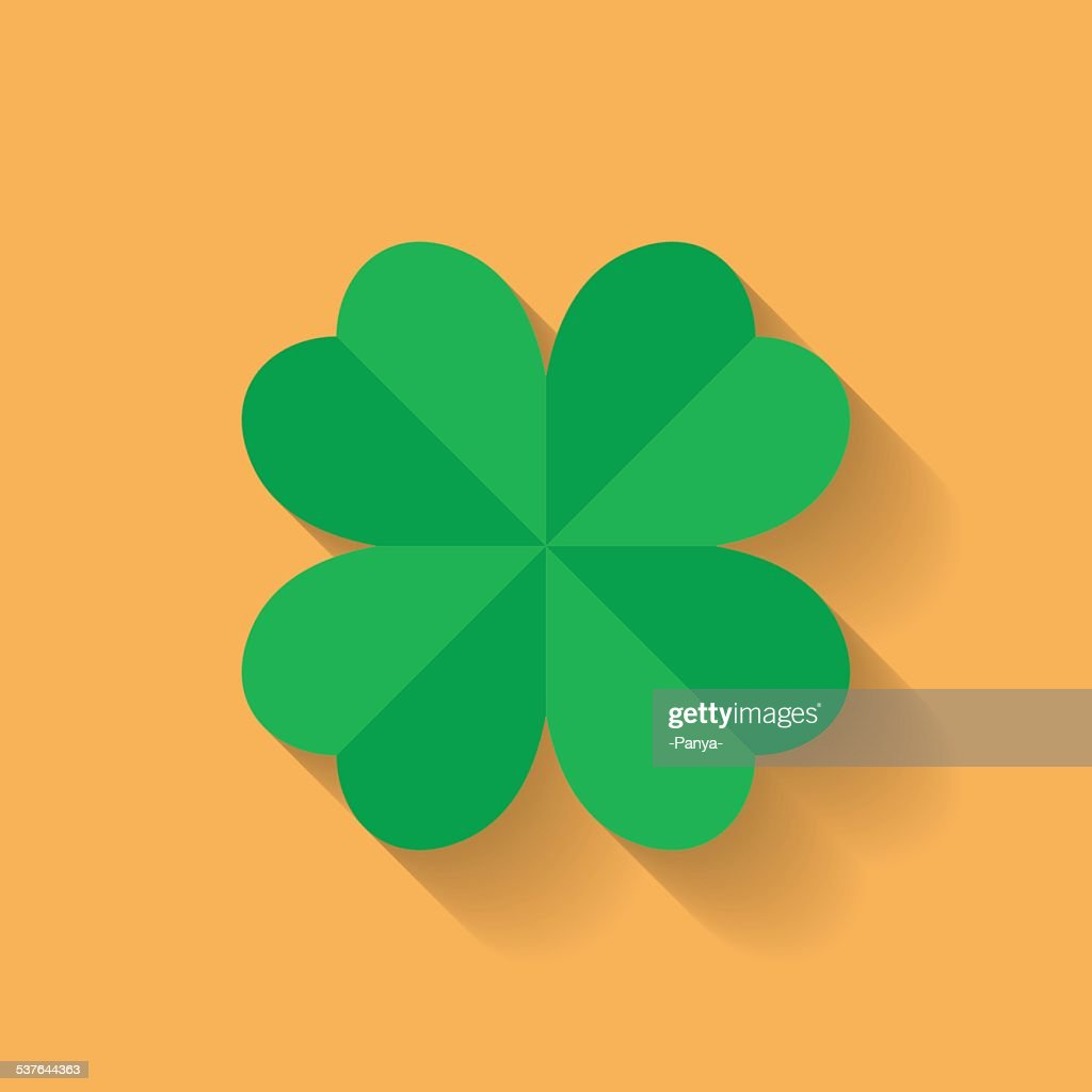 Four leaf clover icon. Flat style