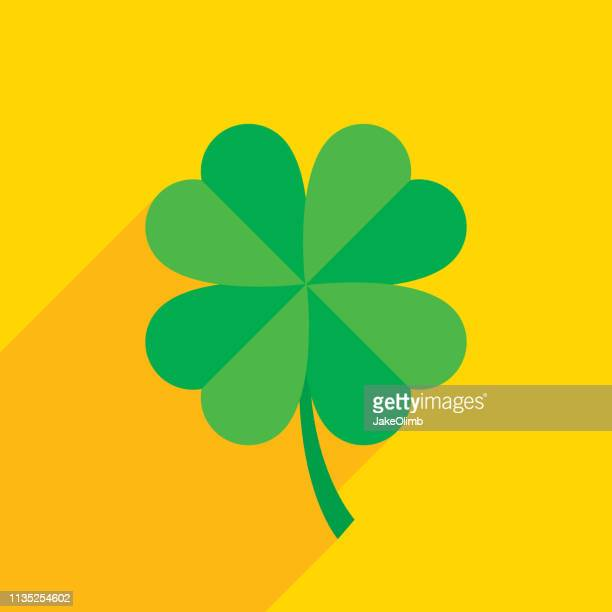 four leaf clover icon flat - good luck charm stock illustrations