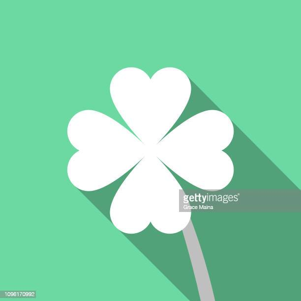 four leaf clover on green background with long shadow design - four leaf clover stock illustrations