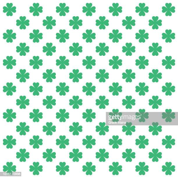 four leaf clover repeating pattern on white background - four leaf clover stock illustrations