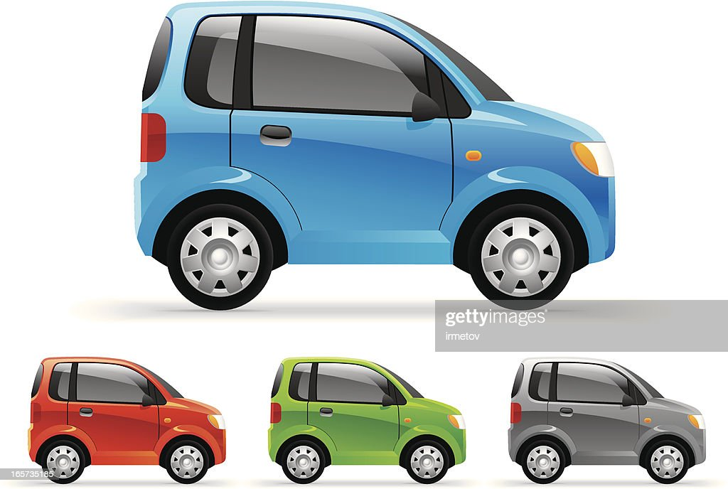 Four little cars featured in different colors
