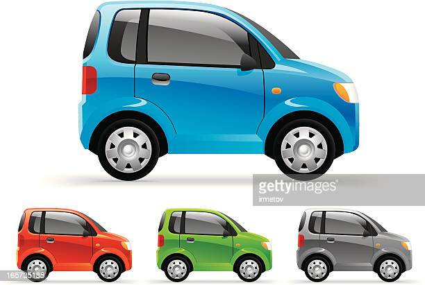 four little cars featured in different colors - compact car stock illustrations, clip art, cartoons, & icons