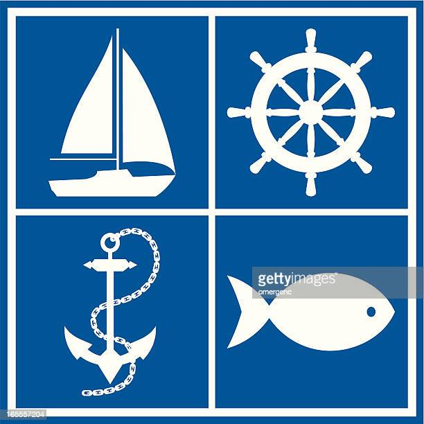 Four marine symbols in white on a blue background