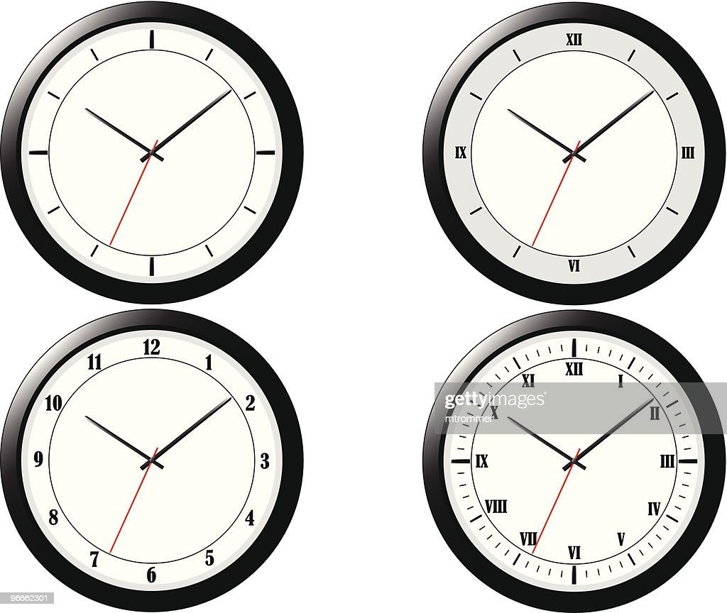 Four Modern Clock Illustrations