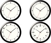 Four Modern Clock Illustrations