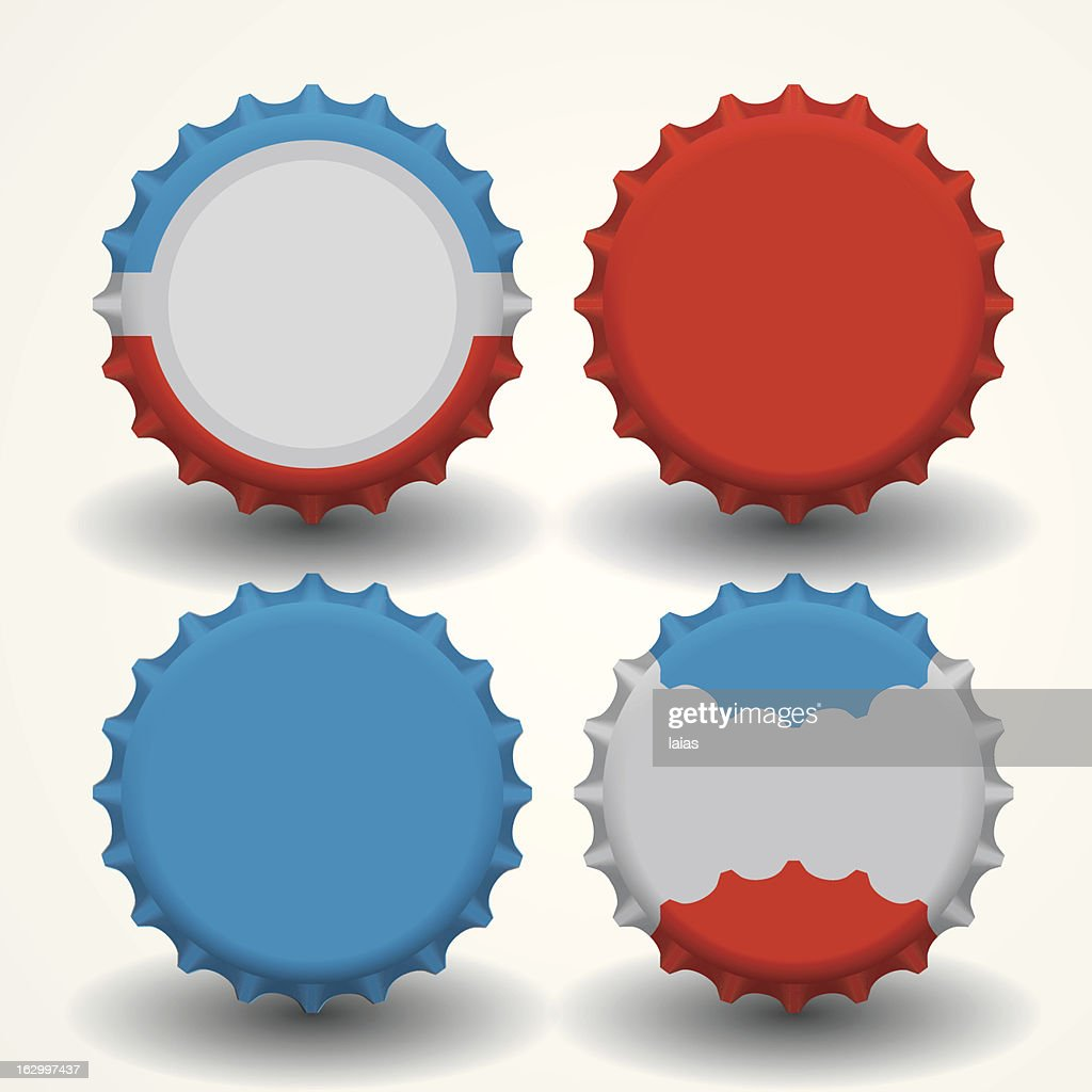 Four multicolored bottle caps on white