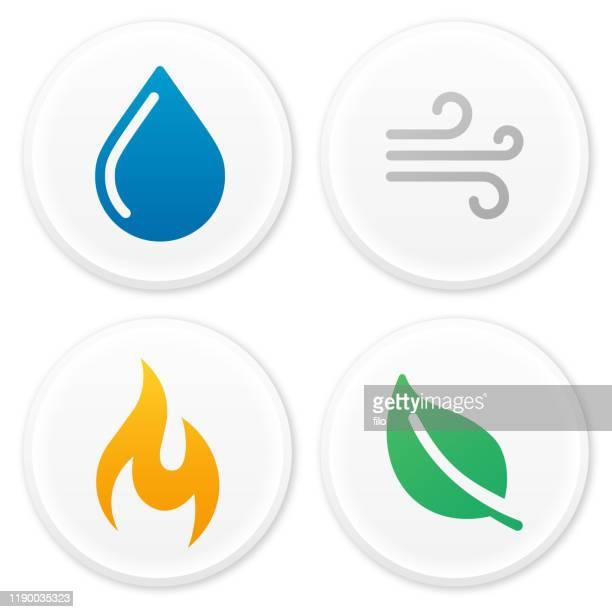 illustrations, cliparts, dessins animés et icônes de quatre symboles et icônes d'éléments naturels - temps qu'il fait