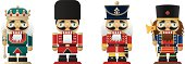 Four nutcrackers on white background