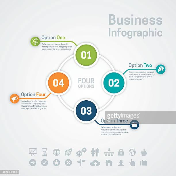 four option business infographic chart - three objects stock illustrations