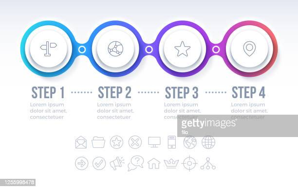 four option circle progress infographic - four objects stock illustrations