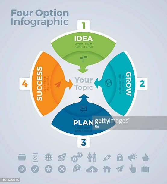 ilustrações, clipart, desenhos animados e ícones de four option infographic - lorem ipsum