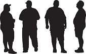 Four Overweight men Silhouettes
