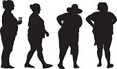 Four Overweight Women Silhouettes